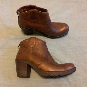 Born BOC Brown Chunky Ankle Boot Leather 8.5